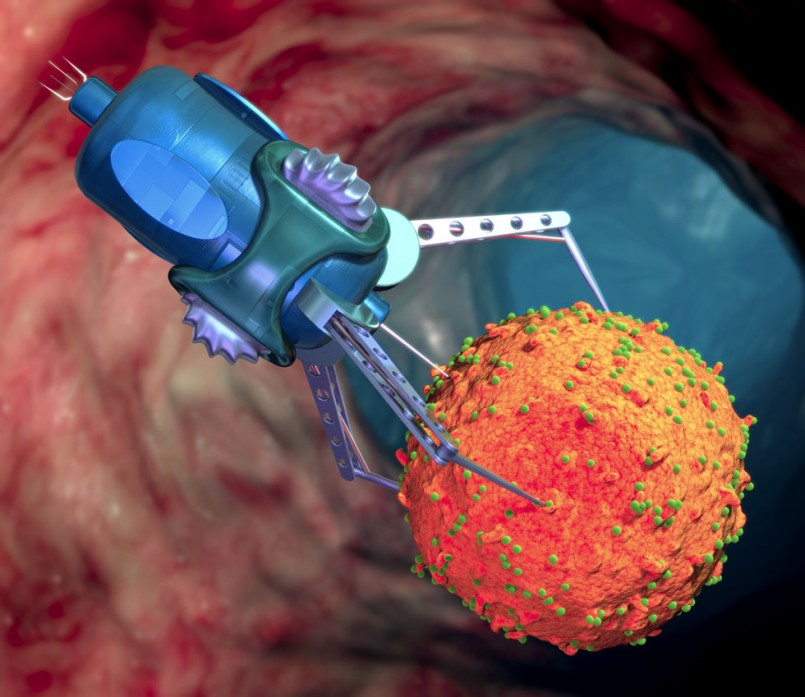 Nanorobot treating infected cell
