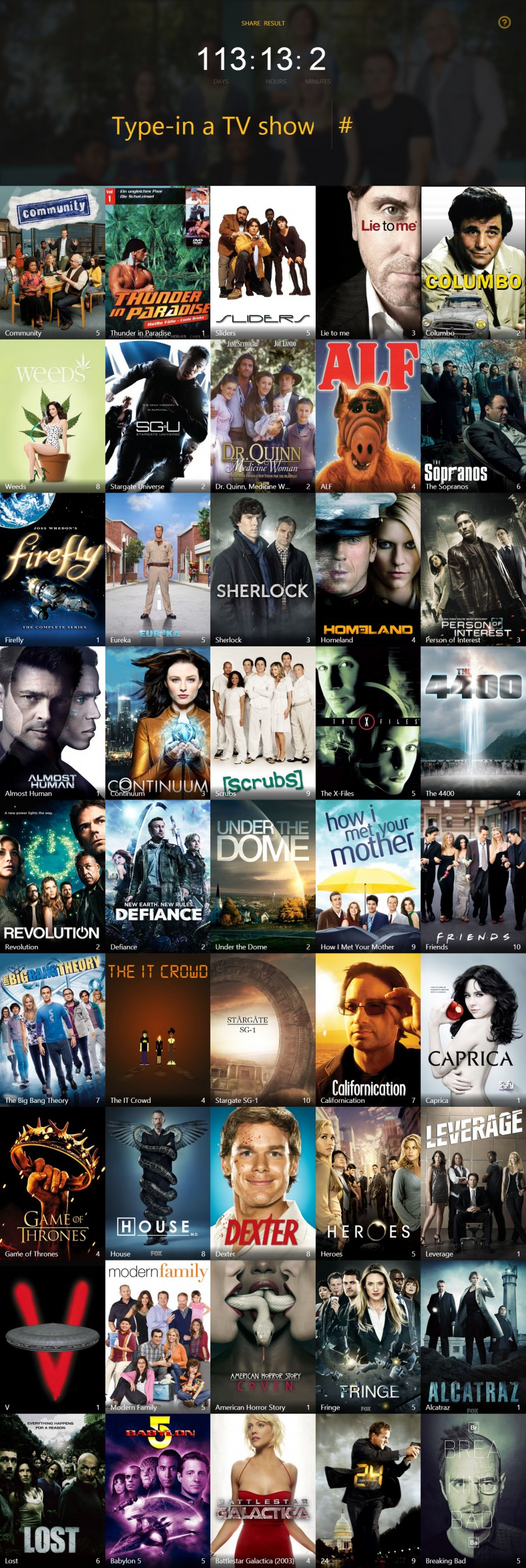 Calculate your total time spent watching TV shows